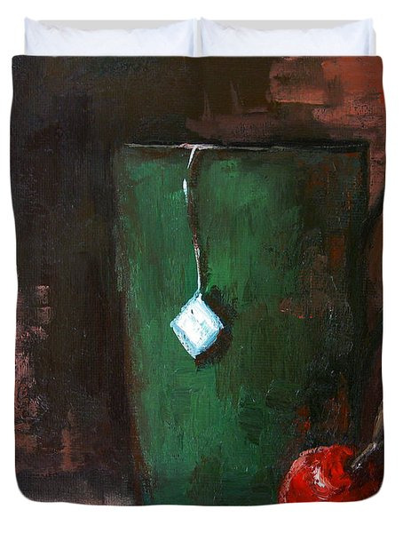 Cherry Tea in green mug Duvet Cover by Patricia Awapara