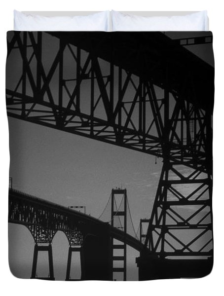 Chesapeake Bay Bridge At Annapolis Duvet Cover by Skip Willits