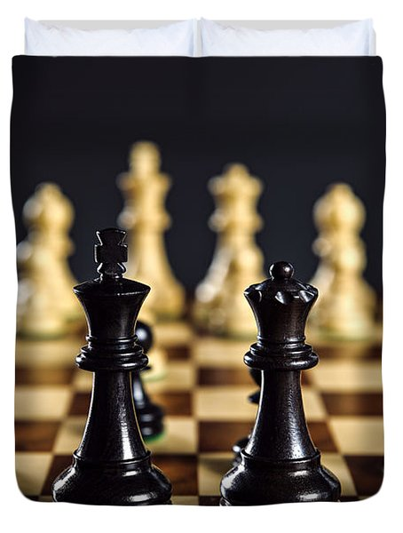Chess Pieces On Board Duvet Cover by Elena Elisseeva