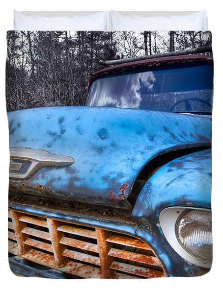 Chevy In The Woods Duvet Cover by Debra and Dave Vanderlaan