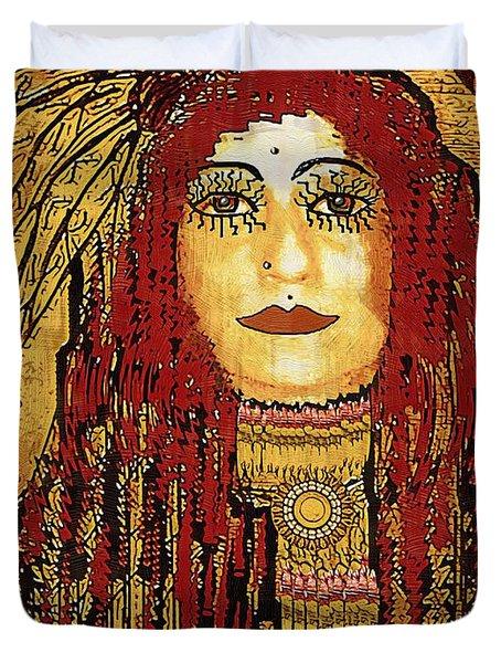 Cheyenne Woman Warrior Duvet Cover by Pepita Selles