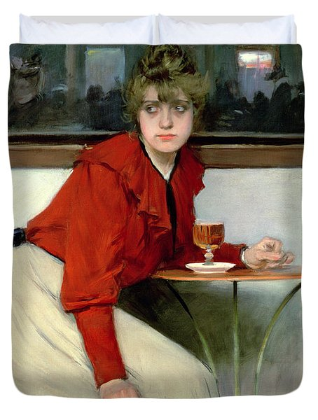 Chica In A Bar Duvet Cover by Ramon Casas i Carbo