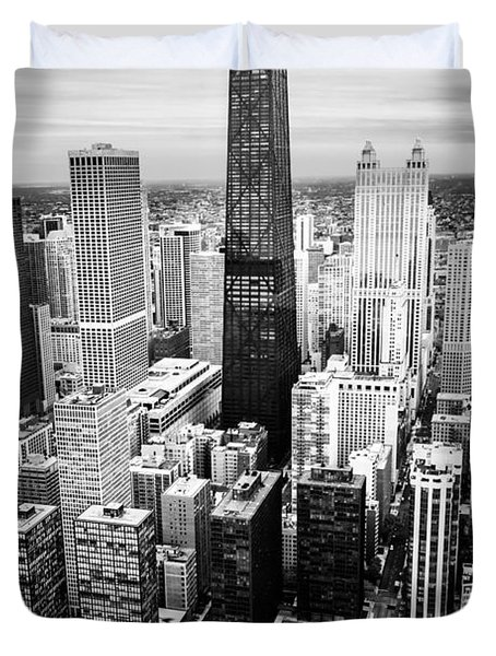 Chicago Aerial With Hancock Building In Black And White Duvet Cover by Paul Velgos