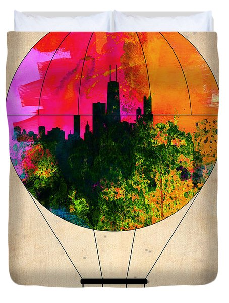 Chicago Air Balloon Duvet Cover by Naxart Studio