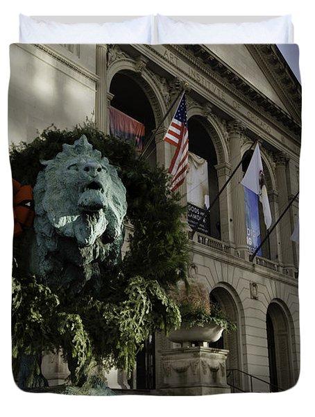 Chicago Art Institute Guardian Duvet Cover by Sebastian Musial