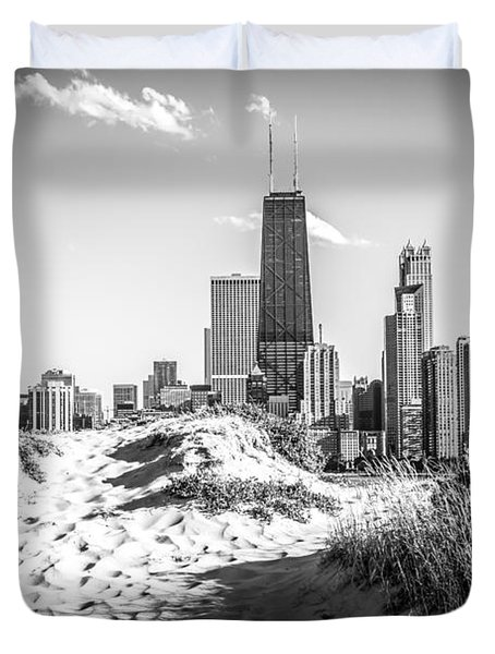 Chicago Beach and Skyline Black and White Photo Duvet Cover by Paul Velgos