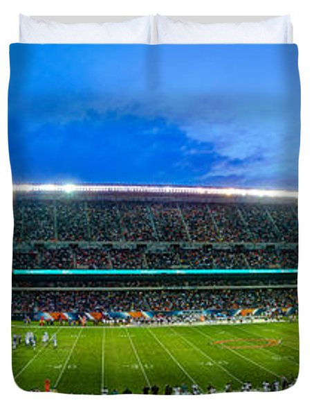 Chicago Bears At Soldier Field Duvet Cover by Steve Gadomski