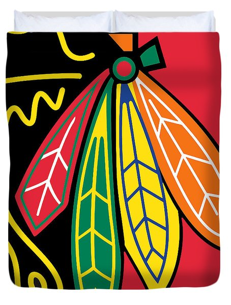 Chicago Blackhawks Duvet Cover by Tony Rubino