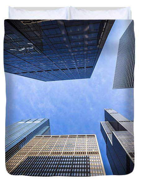 Chicago Buildings Upward View with Willis-Sears Tower Duvet Cover by Paul Velgos