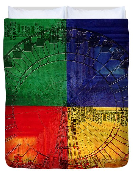 Chicago City Collage 3 Duvet Cover by Corporate Art Task Force
