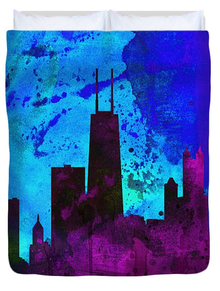 Chicago City Skyline Duvet Cover by Naxart Studio