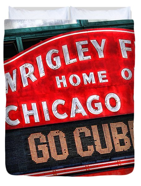 Chicago Cubs Wrigley Field Duvet Cover by Christopher Arndt