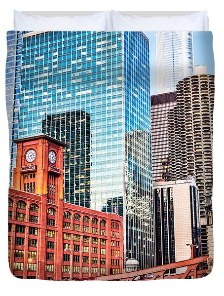 Chicago Downtown at LaSalle Street Bridge Duvet Cover by Paul Velgos