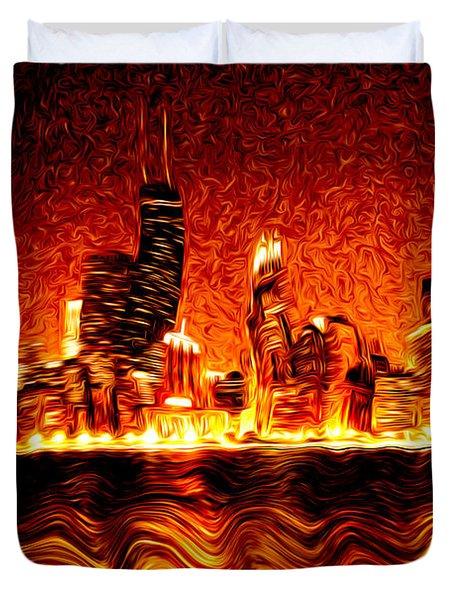 Chicago Hell Digital Painting Duvet Cover by Paul Velgos