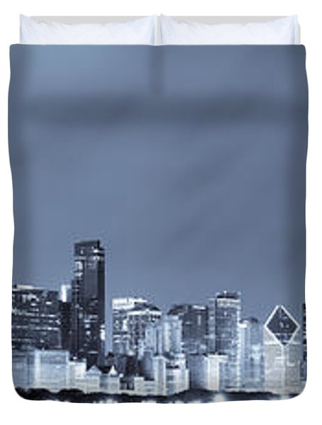 Chicago In Blue Duvet Cover by Sebastian Musial