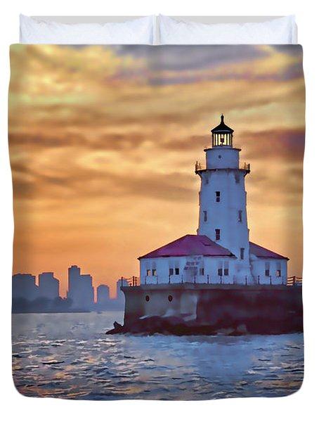 Chicago Lighthouse Impression Duvet Cover by John Hansen