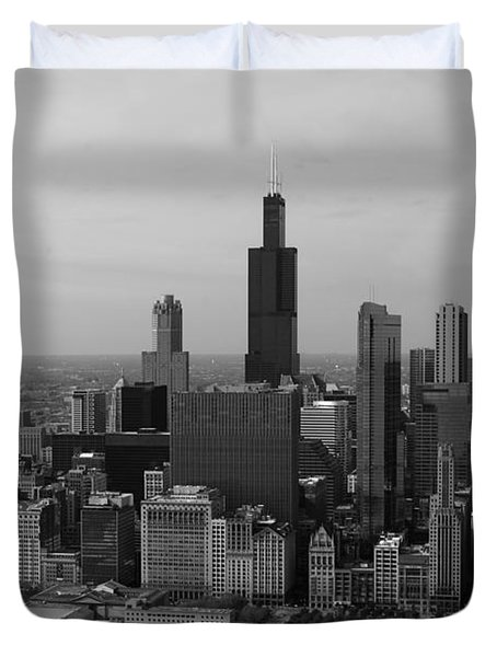 Chicago Looking West 01 Black And White Duvet Cover by Thomas Woolworth