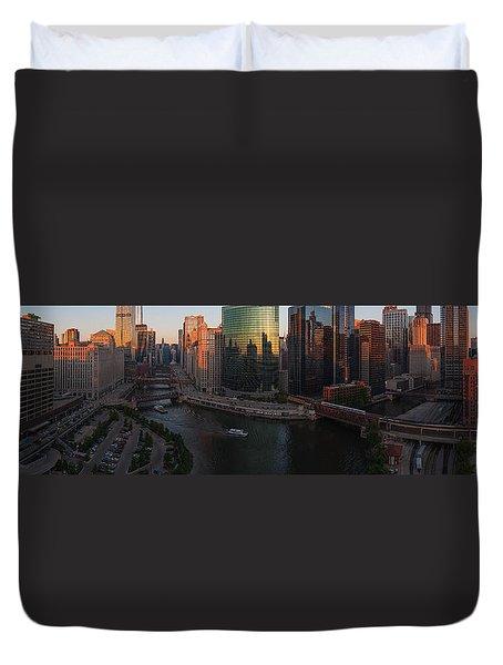 Chicago On The River Duvet Cover by Steve Gadomski