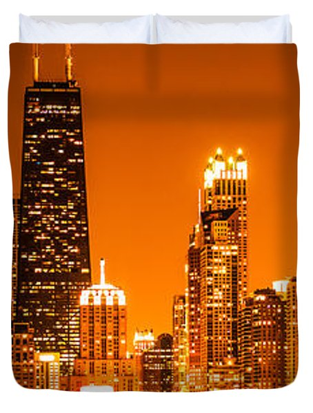 Chicago Panorama Skyline At Night Orange Tone Duvet Cover by Paul Velgos