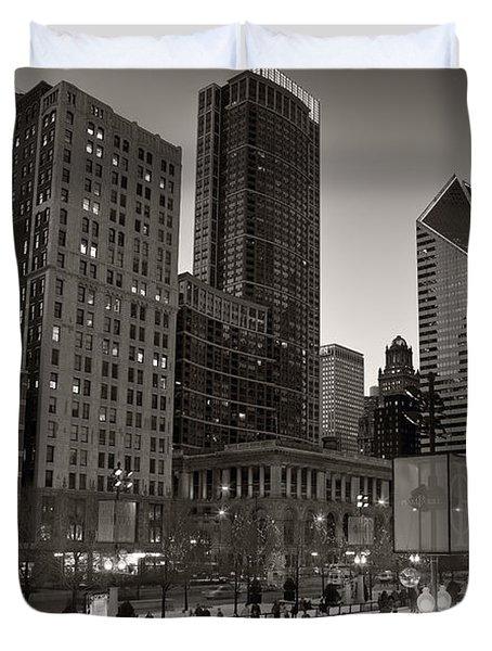 Chicago Park Skate Bw Duvet Cover by Steve Gadomski