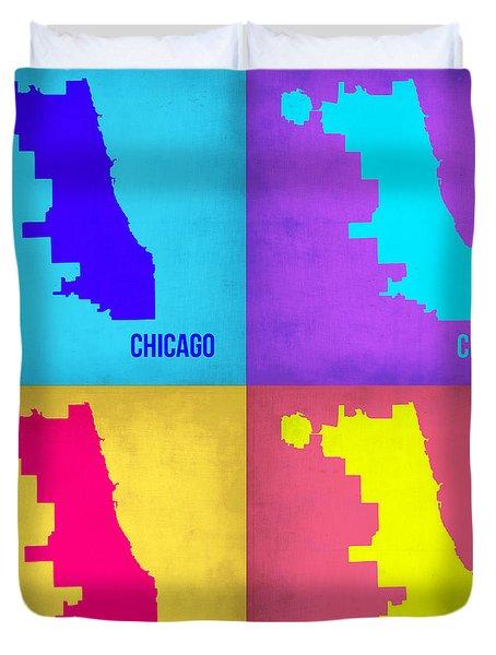 Chicago Pop Art Map 1 Duvet Cover by Naxart Studio