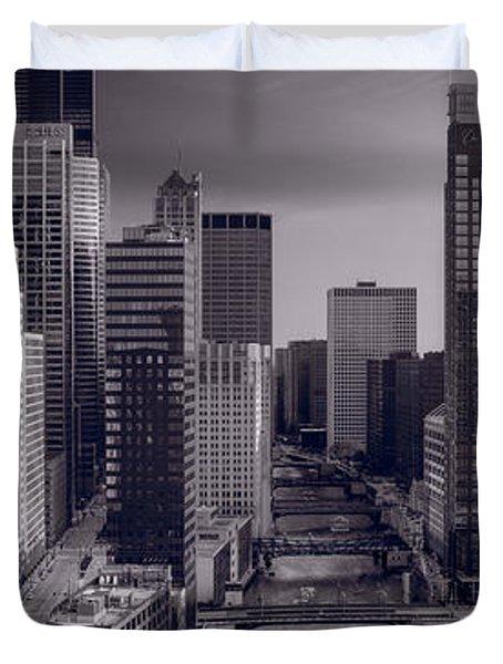 Chicago River Bridges South BW Duvet Cover by Steve Gadomski