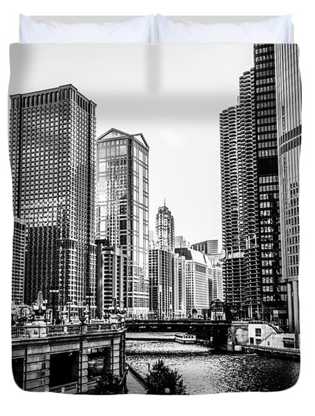 Chicago River Buildings In Black And White Duvet Cover by Paul Velgos