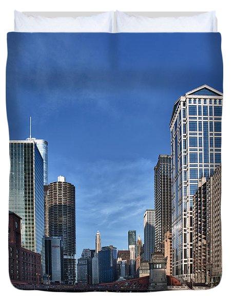 Chicago River Duvet Cover by Sebastian Musial