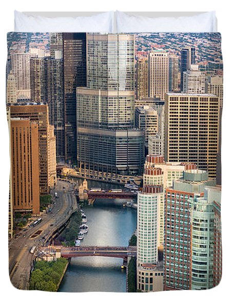 Chicago River Sunrise Duvet Cover by Steve Gadomski