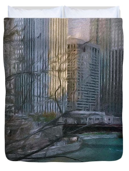 Chicago River Sunset Duvet Cover by Jeff Kolker