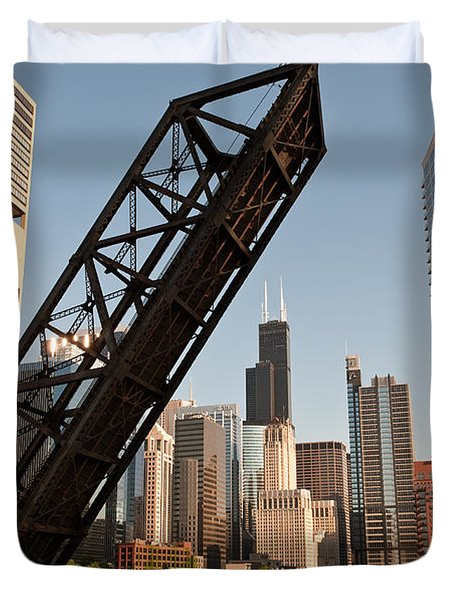 Chicago River Traffic Duvet Cover by Steve Gadomski