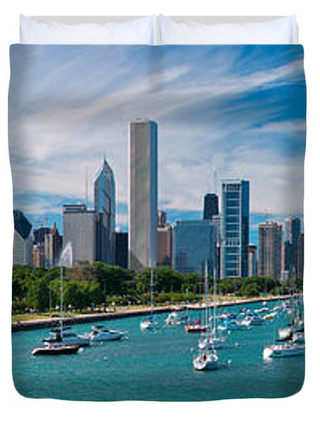 Chicago Skyline Daytime Panoramic Duvet Cover by Adam Romanowicz