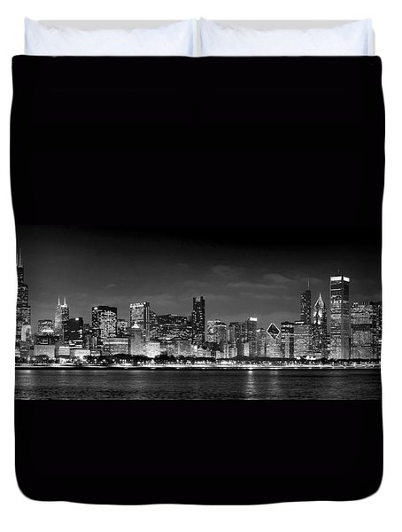 Chicago Skyline At Night Black And White Duvet Cover by Jon Holiday