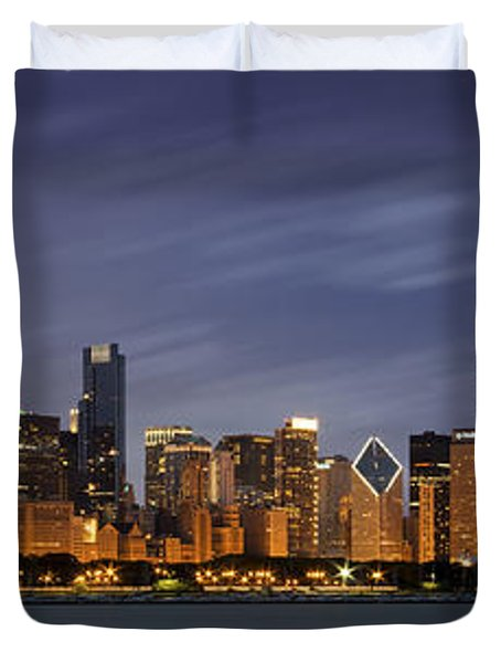 Chicago Skyline At Night Color Panoramic Duvet Cover by Adam Romanowicz