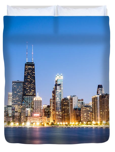 Chicago Skyline at Twilight Duvet Cover by Paul Velgos