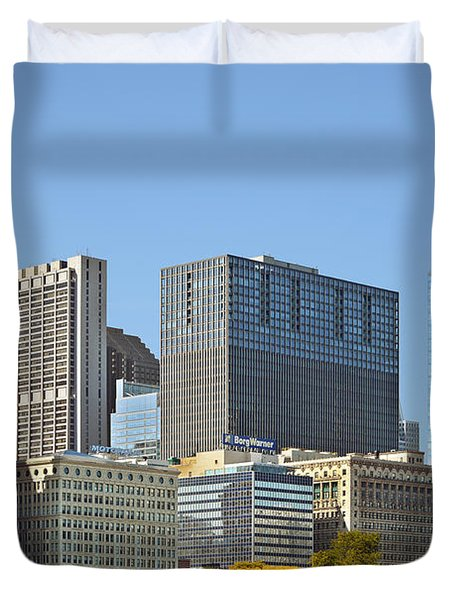Chicago skyline from Millenium Park II Duvet Cover by Christine Till