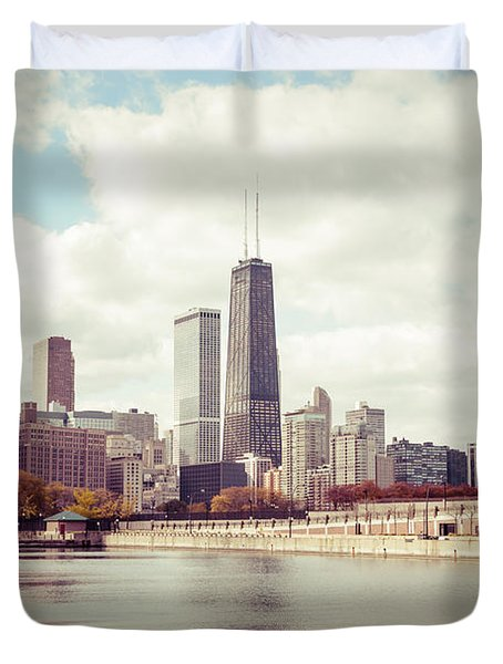Chicago Skyline Vintage Picture Duvet Cover by Paul Velgos