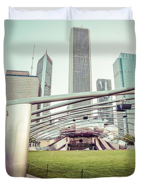 Chicago Skyline with Pritzker Pavilion Vintage Picture Duvet Cover by Paul Velgos