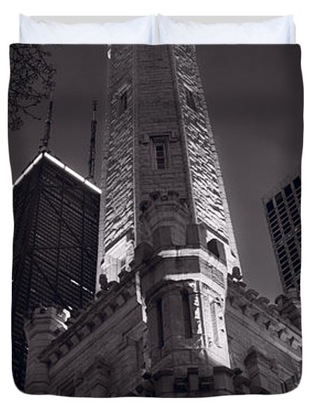 Chicago Water Tower Panorama B W Duvet Cover by Steve Gadomski