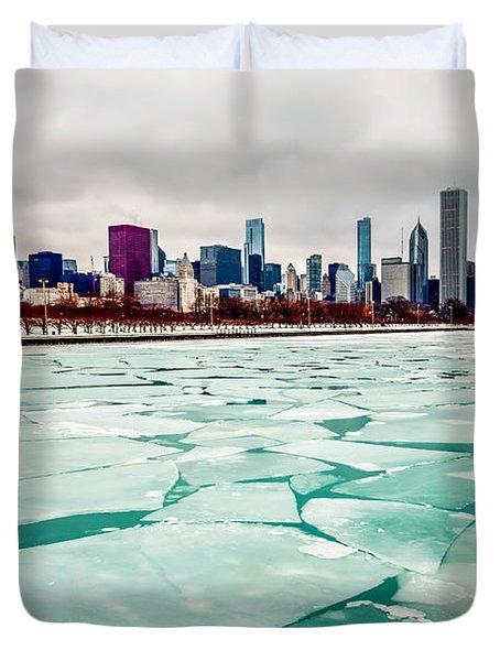 Chicago Winter Skyline Duvet Cover by Paul Velgos