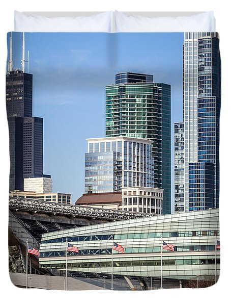 Chicago With Soldier Field And Sears Tower Duvet Cover by Paul Velgos