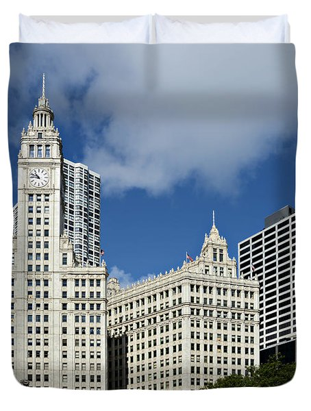 Chicago - Wrigley Building Duvet Cover by Christine Till