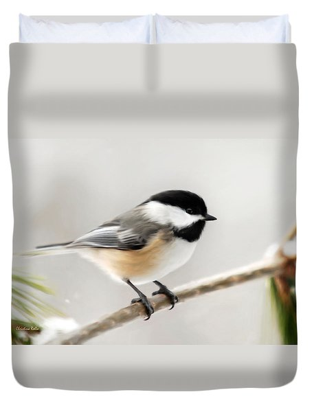Chickadee Duvet Cover by Christina Rollo