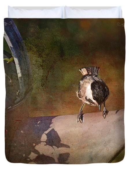 Chickadee Flower Pot Duvet Cover by Debbie Portwood