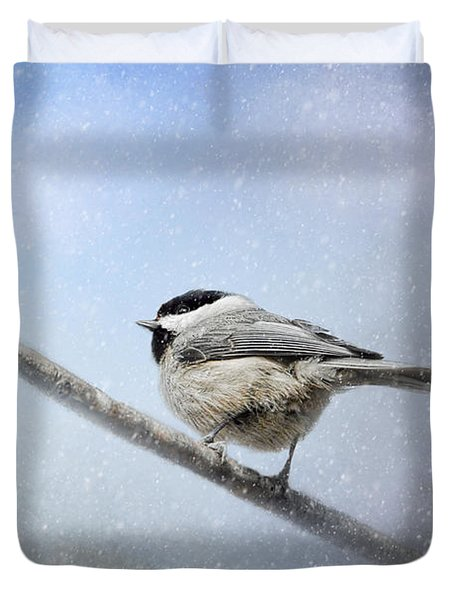 Chickadee In The Snow Duvet Cover by Jai Johnson