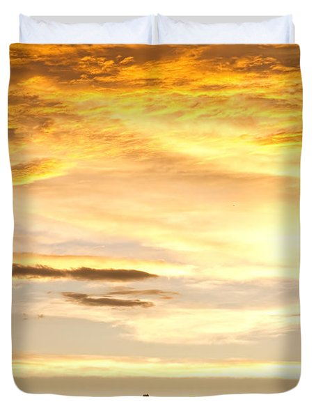 Chicken Farm Sunset 1 Duvet Cover by James BO  Insogna