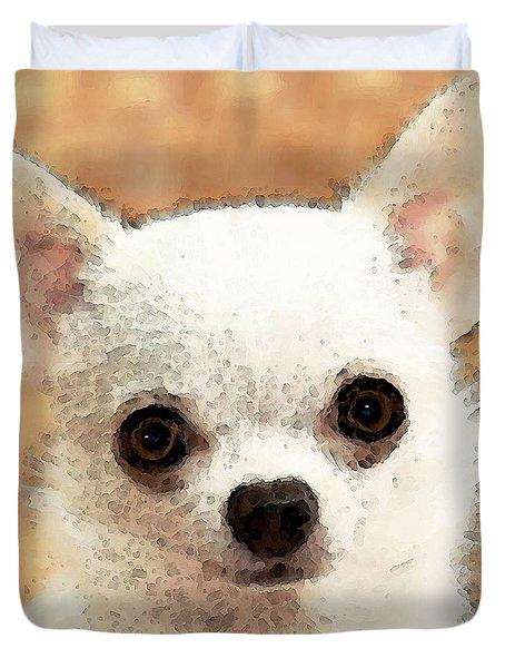 Chihuahua Dog Art - Big Heart Duvet Cover by Sharon Cummings