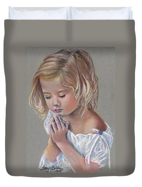 Child In Prayer Duvet Cover by Tonya Butcher