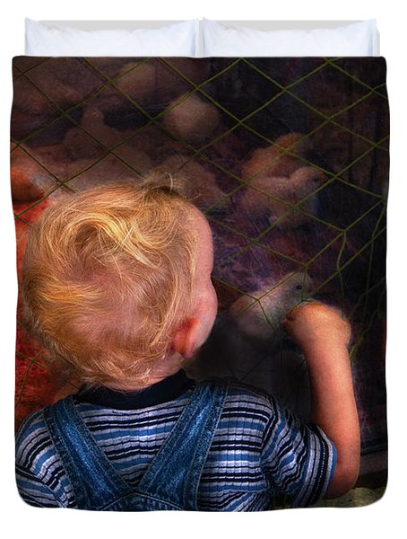 Children - Look At The Baby Duvet Cover by Mike Savad