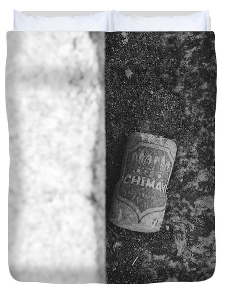 CHIMAY WINE CORK in BLACK AND WHITE Duvet Cover by ROB HANS